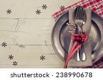 christmas table setting with... | Shutterstock . vector #238990678