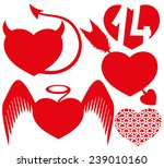 vector set. red hearts.