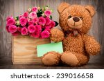 roses in the box and a teddy... | Shutterstock . vector #239016658