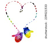 knitted mittens christmas... | Shutterstock .eps vector #239021533