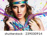 beautiful woman with multi... | Shutterstock . vector #239030914