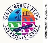 surf santa monica typography  t ... | Shutterstock .eps vector #239032378
