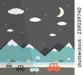 Night Landscape Flat Design...