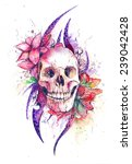 skull and flowers waretcolor... | Shutterstock . vector #239042428
