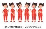 cartoon style asian girl... | Shutterstock .eps vector #239044138
