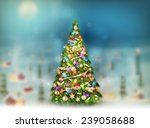 christmas scene  snowfall... | Shutterstock .eps vector #239058688