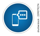 chat on blue button clean vector