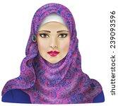 muslim girl dressed in colored...   Shutterstock .eps vector #239093596