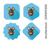 pet mouse flat icon with long... | Shutterstock .eps vector #239095300