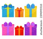 vector set of colorful gift... | Shutterstock .eps vector #239095510