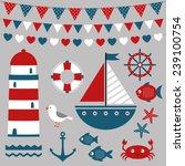 sea design elements  vector set | Shutterstock .eps vector #239100754