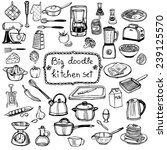 hand drawn doodle kitchen set   Shutterstock .eps vector #239125570