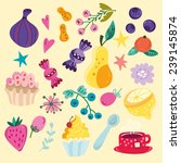 vector beautiful set of food ... | Shutterstock .eps vector #239145874