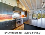 Stock photo luxury beautiful dark modern kitchen with vaulted wood ceiling hardwood floor and huge stove 239154469