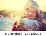 beauty winter girl blowing snow ... | Shutterstock . vector #239155276