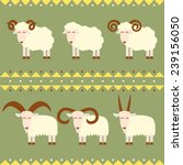 goats and sheep with different... | Shutterstock .eps vector #239156050