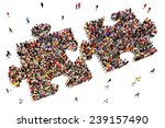people putting the pieces... | Shutterstock . vector #239157490