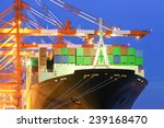 Cargo Freight Ship With Stacke...