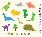 pixel art dinos vector object... | Shutterstock .eps vector #239218819