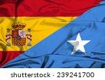 waving flag of somalia and spain | Shutterstock . vector #239241700