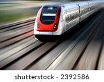 train speeding along its tracks