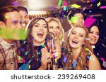 happy friends singing karaoke... | Shutterstock . vector #239269408