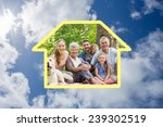 extended family with their pet... | Shutterstock . vector #239302519