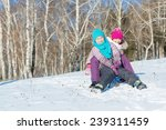 two cute girls riding sled and... | Shutterstock . vector #239311459