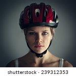Woman Wearing Biking Helmet....