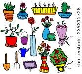 set of potted flowers  garden...   Shutterstock .eps vector #239315728