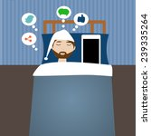 hipster man in the bed time... | Shutterstock .eps vector #239335264