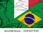 waving flag of brazil and italy | Shutterstock . vector #239337550