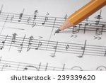 Music Notes And Pencil  Shallo...