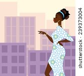 dark skinned woman in the city  ... | Shutterstock .eps vector #239373004