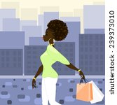dark skinned woman shopping in... | Shutterstock .eps vector #239373010