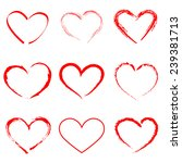 hand drawn vector heart set... | Shutterstock . vector #239381713