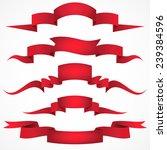 red ribbons set. vector... | Shutterstock .eps vector #239384596