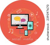 social media with nice bright... | Shutterstock . vector #239397670