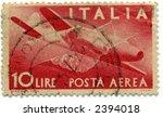 vintage italian postage stamp red planes 10 lire - stock photo