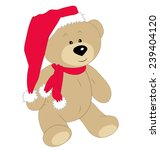Christmas teddy bear on the white background