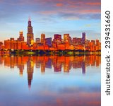 City Of Chicago Usa  At Sunset...