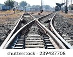 Railway Or Railroad Tracks For...