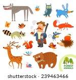 set funny forest little animals.... | Shutterstock .eps vector #239463466