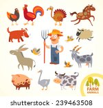 set funny farm little animals.... | Shutterstock .eps vector #239463508