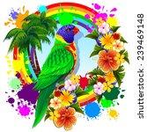 rainbow lorikeet parrot | Shutterstock .eps vector #239469148