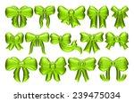3d big set of green gift bows...   Shutterstock . vector #239475034