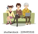 cartooned females sitting on... | Shutterstock . vector #239495533