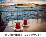 Two Glasses Of Turkish Tea On...