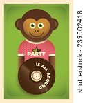 Party poster with comic monkey. Vector illustration. - stock vector