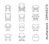 flat line armchair icons set. ... | Shutterstock . vector #239545273
